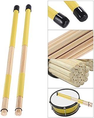 Drum Cepillos Palos 1 par Bambú Jazz Varilla 40cm Palillos Percusión de Música Folk Conjunto de Equilibrio de ammoon