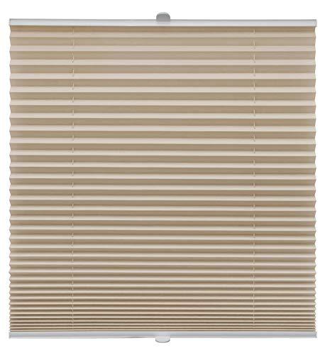 Plissee auf Maß verschiedene Farben für alle Fenster Montage in der Glasleiste Blickdicht mit Spannschuh Sonnenschutzrollo Fensterrollo Plissee Rollo Beige Breite: 71-80 cm, Höhe: 101-150 cm