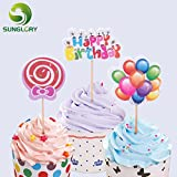 Generic rainbow : 12pcs/set Cake Toppers Happy Birthday Cake Decoration Card For Wedding Party Cupcake Decorating Insert Cards With Toothpicks