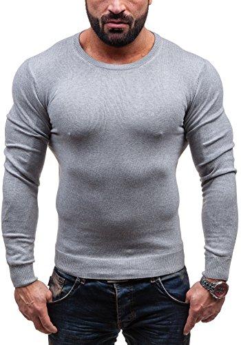 BOLF Herrenpullover Pulli Sweatshirt Sweatjacke Sweater Rundhalsausschnitt GLO-STORY 1809 Grau