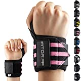 Fitgriff–Muñequera (juego de 2), 45cm, muñequera profesional para deportes de fuerza, fitness, culturismo, entrenamiento y crossfit, muñequera para mujeres y hombres, negro / rosa