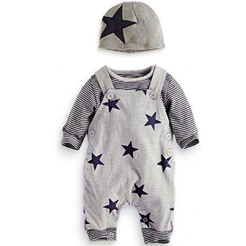 Newborn Baby Boy Strampler Star Bekleidungssets Hosen+Tops+Hut Niedlich Overall Romper Outfit Bodysuit (0-3 Monate, Grau)