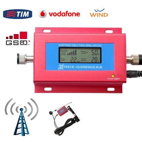 KIT MINI RIPETITORE AMPLIFICATORE SEGNALE RETE GSM CELLULARE DOPPIA ANTENNA DISPLAY LCD