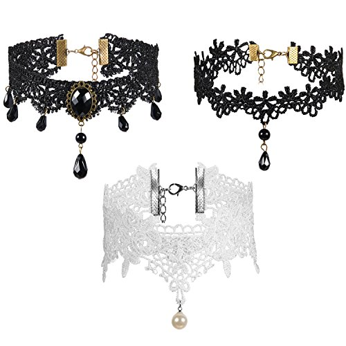 Weißer Frauen Spitzen Spitze (JewelryWe Schmuck 3pcs Frauen Anhänger Halskette Choker Ketten Set Weiß Schwarz Spitze Acryl Charm Kragen Halsband für Damen Mädchen)