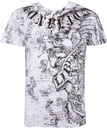 """Bedrucktes """"Liberty""""-Herren-T-Shirt aus Baumwolle mit langen Ärmeln von Sakkas Gr. L, weiß"""