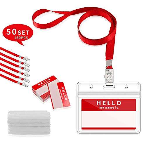 GIMARS 50Set Namensschilder mit Band Kartenhülle Ausweishalter Lanyard für Business, Ausstellung, Büro, Schule und Kinder (Rot) - Kleidung Business