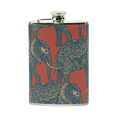 Tizorax stylisée ornementales indien éléphants en acier inoxydable Flasque, poche Pichet, le camping, Pot de vin, cadeau pour homme ou femme, 226,8gram