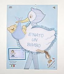 Idea Regalo - fiocco nascita cicogna azzurra con scritta