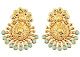 Touchstone Boucles d'oreilles de bijoux traditionnels de mariée inspirés des anciens bahoubins du sud, ornés de faux turquoise pour femme Turquoise...