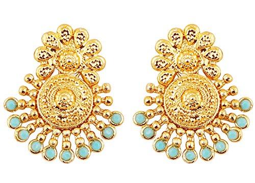 Pendientes de boda tradicional de boda estilo indio Bollywood, oro del