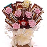 Galaxy chocolate bouquet with wine and pink diamante rose...