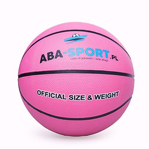 Basketball Ball | ABA Sport | Indoor und Outdoor | NBA Training | Basketbälle für Kidner und Erwachsenen | Größe 5 | Bälle | Farbenauswahl : Rosa Orange Blau (Rosa)