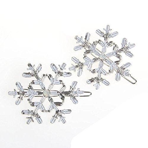 Xuniu 2 Stück Schneeflocke Frauen Kristall Strass Haarnadel Clips Haarspange Haarnadeln