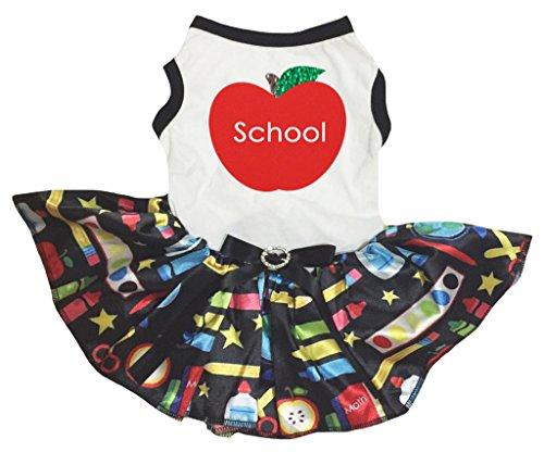 Apple Top Shirt (petitebelle Puppy Kleidung Hund Kleid Schule Apple Weiß Top Stationery Tutu)