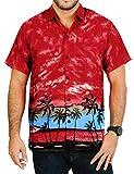 LA LEELA Shirt Camicia Hawaiana Uomo XS - 5XL Manica Corta Hawaii Tasca-Frontale Stampa Hawaiano Casuale Regular Fit rosso222 XS