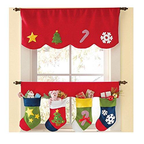 Fascigirl 2pcs Cortina De Ventana Cortina De Navidad