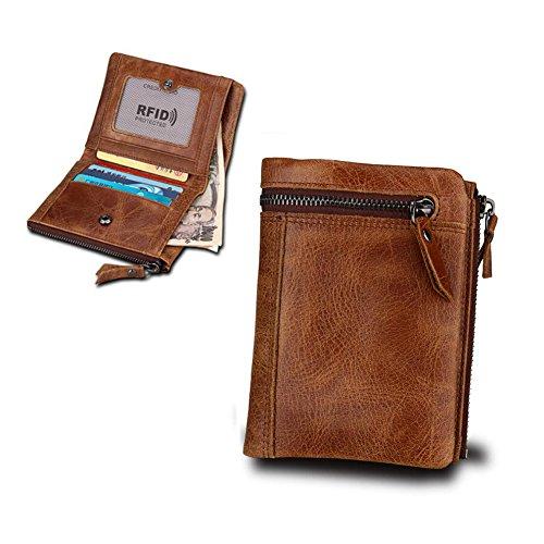 AIURBAG Portemonnaies Herren, Echtem Leder RFID Sicherheitssperre Faltbare Geldbörse Mit 5 Kartentaschen + 1 ID Fenster + 2 Fächer Geldbeutel,Brown (Rfid Zwei Id-geldbörse)