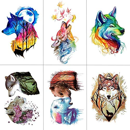 Temporäre Tattoo-Aufkleber Aquarell Wolf Tiger Temporäre Tattoos Wasserdicht Frauen Gefälschte Kinder Kinder Hand Tattoos Männer Kunst 9,8X6 cm (Wolf Kostüm Augen Make Up)