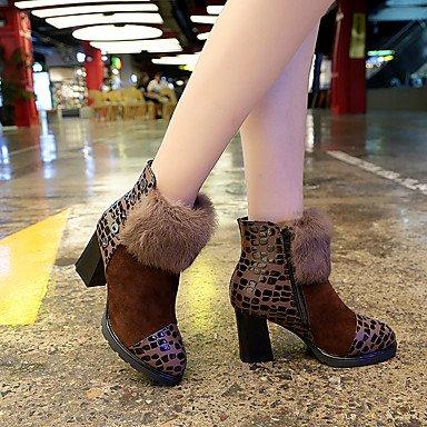 Wuyulunbi@ Scarpe Donna Tessuto Autunno Inverno Comfort Stivali Chunky Heel Babbucce/Stivaletti Zipper Per Casual Marrone Scuro Rosso Nero US7.5 / EU38 / UK5.5 / CN38