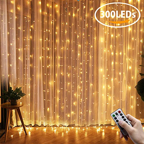 LED Curtain Lights, QcoQce Window Curtain Fairy Lights, 300 LEDs, 3M × 3M, 8 Modes Icicle String Lights with Remote Control for Indoor Outdoor Party Wedding Christmas Xmas Home Patio Lawn Garden Bedroom Decoration (Warm White)