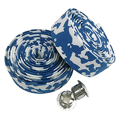 KINGOU White & Blue Camouflage EVA Road Bike Handlebar Tape