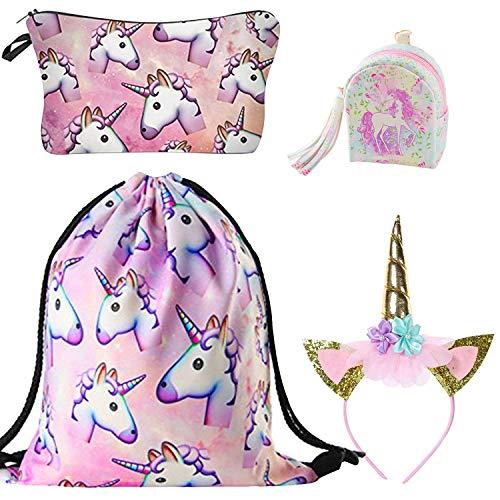 DRESHOW Unicorn Drawstring Backpack/Bolsa de maquillaje/Collar/Llavero/Brazalete de regalo para niñas