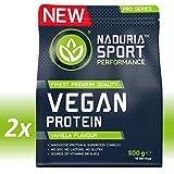 NADURIA SPORT Vegan Protein-Shake Vanille | 1kg (2 x 500g) | Mit Erbsen-, Kürbiskern-, Sonnenblumen- und Reisprotein | Inkl. Superfoods