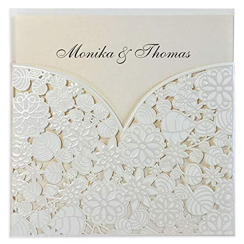 Lasergeschnittene Hochzeitseinladung im Set (10 Stück) Einladungskarten Geburt Taufe Kommunion mit Blumen Mustern zum selbst gestalten basteln DIY