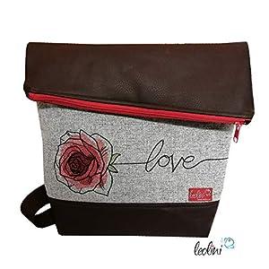 Foldover Tasche Blumen Rose Love Stickerei handmade Foldovertasche mit Außenfach