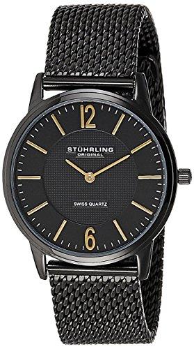 Stuhrling Original Men's Quartz Watch with Black Dial Analogue Display and Black Stainless Steel Bracelet 122.33551