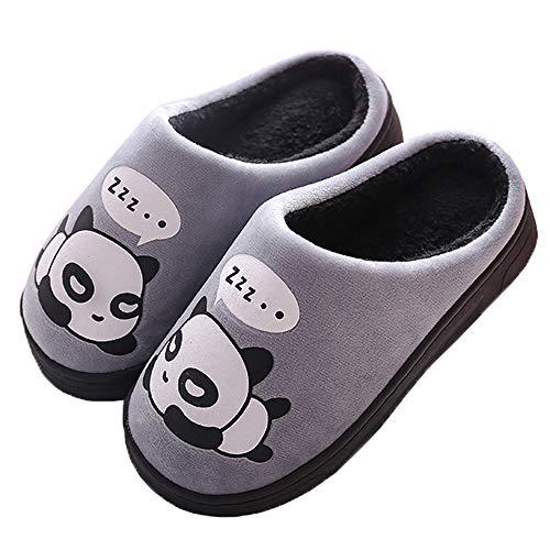 Zapatillas de Estar por Casa para Niñas Niños Otoño Invierno Zapatillas Mujer Hombres Interior Caliente Suave Dibujos Animados Panda Zapatos Gris 35/36 EU = 36/37 CN