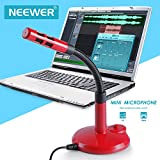 Neewer® Plug & Play Heimstudio einstellbares USB MIC Tischplatte Mikrofon Kompatibel mit PC/Desktop/Laptop/Notebook, Ideal für Skype, Facetime, Chatten, YouTube, usw. (Rot)