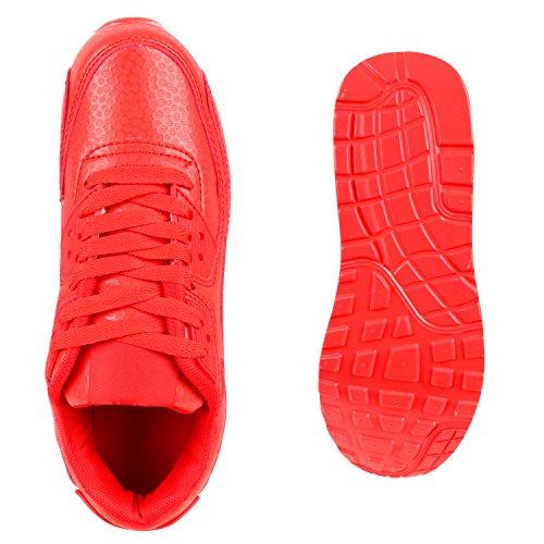 Trendige Unisex Damen Herren Kinder Laufschuhe Schnür Sneaker Sport Fitness Turnschuhe Rot Weiss