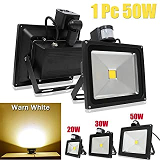 Security Light with PIR Motion Sensor 50W LED Outdoor Floodlight Super Bright 3500K Warm White for Garden Car Parking Hotels, 2 Year Warranty