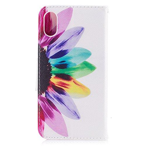Coque iPhone X, Voguecase Coque de Protection en PU Cuir Support Flip Housse Étui Cover Case avec Porte-Cartes pour Apple iPhone X (2017) (Un grand arbre coloré) + Gratuit Stylet à Aléatoire Coloré fleur