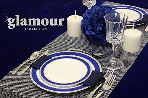[10Stück] Glamour Collection Elegante Premium Heavy Duty Kunststoff Einweg Party Abendessen Teller, königsblau, 6