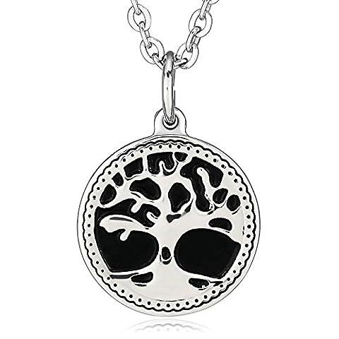 AMDXD Bijoux Acier inoxydable pendentif Colliers pour homme rond branches d'arbre de vie Argent Collier Noir