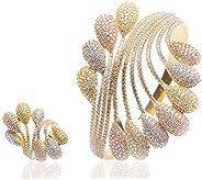 Woman Multicolour Jewelry 2pcs/Set Bracelet Ring Set Buds Flower Line Copper White Zircon Plated 18K Rose Gold