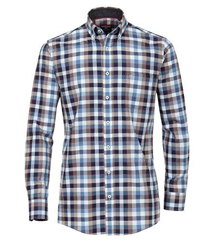 Casa Moda - Comfort Fit - Herren Freizeit Hemd mit Kent Kragen in Blau oder Grün (472859400), Farbe:Blau (100), Größe:L
