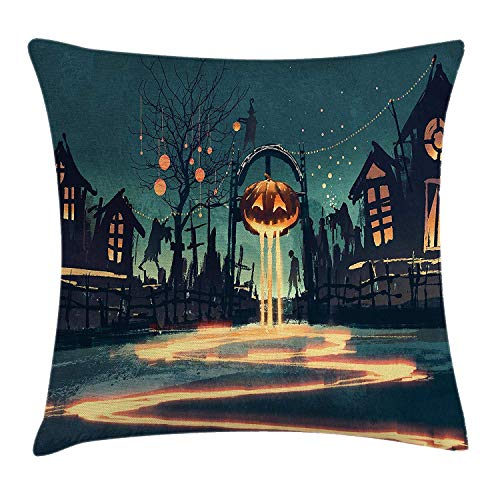 Fantasy Art House Decor Throw Pillow Cushion Cover by, Halloween Theme Night Pumpkin and Haunted House Ghost Town Artful, Decorative Square Accent Pillow Case, 18 X 18 Inches, Teal Orange (Silhouette Town Halloween)