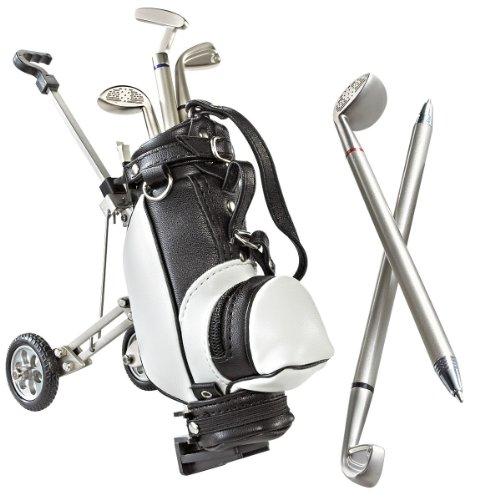CEBEGO Mini Golfbag auf Mini Golftrolley mit DREI Golf-Kugelschreibern & Golfball-Kühlmagnet,Original Golfgeschenk,Desktop Golf,Golfzubehör Golfartikel