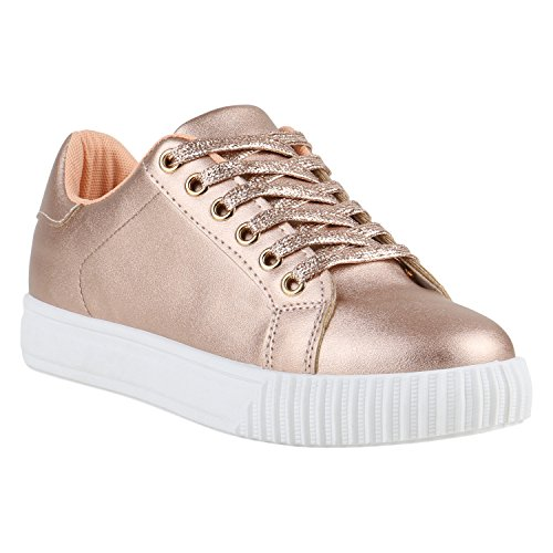 Plateau Sneakers Damen Sneaker Low Glitzer Metallic Sport Strass Lack Animal Print Camouflage Schuhe 139105 Gold Rose Weiss 37 Flandell - Metallic Animal Print