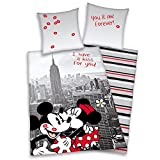 Biancheria da letto Disney con Topolino e Minnie in New York Motivo (135 X 200 cm/80 X 80 cm)