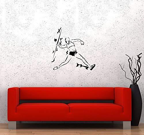 Leichtathletik Speer werfen Sport Vinyl Wall Decal Kunst Aufkleber Wettbewerb Athlet Aufkleber Home Schlafzimmer Dekor Schule Decals57 x 56 cm -