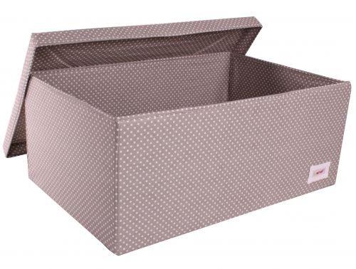 Minene - Caja de almacenaje grande con tapa, diseño de lunares, color gris y blanco