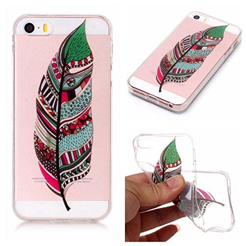 iPhone 5S Hülle, Voguecase Silikon Schutzhülle / Case / Cover / Hülle / TPU Gel Skin für Apple iPhone 5 5G 5S SE(Bunt Schmetterling 07) + Gratis Universal Eingabestift Bunte Feder 15