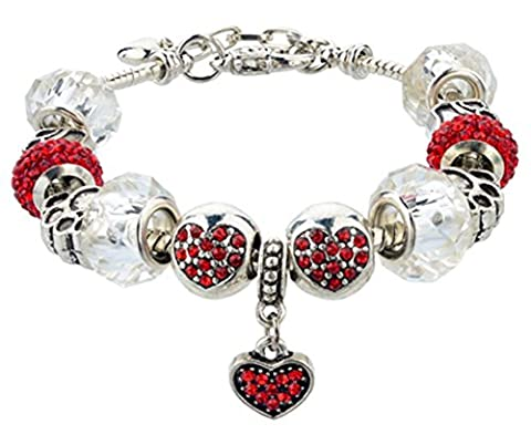 SaySure - 925 Sterling Silver Red Crystal&Glass Beads Charm Bracelet