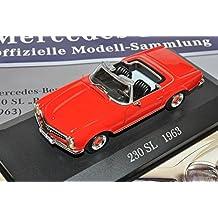 Mercedes-Benz 230SL Pagode Roadster Rot 1963-1971 W113 Inkl Zeitschrift Nr 3 1/43 Ixo Modell Auto mit oder ohne individiuellem Wunschkennzeichen