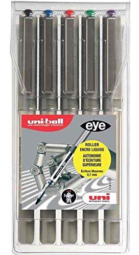 Uni-Ball UB-157 Eye Medium Nero, Blu, Verde, Rosso, Viola 5pezzo(i)