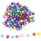 #3: eshoppee 100 pcs, 8mm multicolor metal bell charms beads for jewellery making and home decoration,art and craft making diy kit